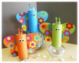 Le farfalle in carta,riciclando i rotoli della carta igienica!